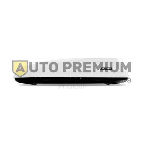 Автобокс на крышу Белый ACTIVE M (450 л) Аэродинамический с двусторонним открыванием на крышу автомобиля